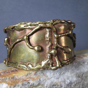 Molten Metal Bronze Bracelet Liquid Lightning Cuff